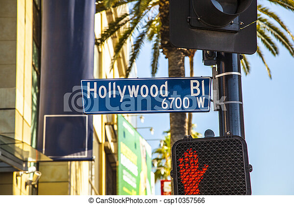 street sign Hollywood Boulevard in Hollywood - csp10357566