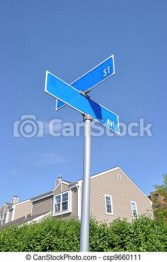 Street Sign Suburban Neighborhood - csp9660111