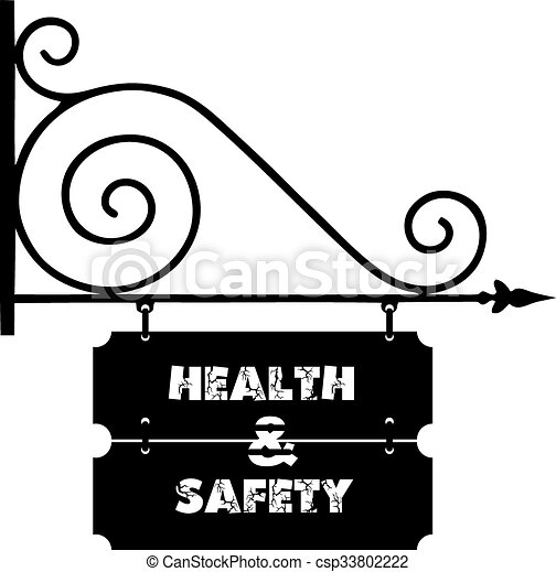Street signs on building health and safety - csp33802222