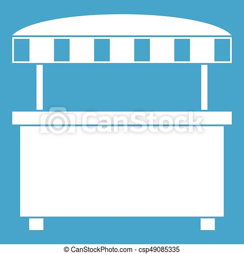 Street stall with awning icon white - csp49085335