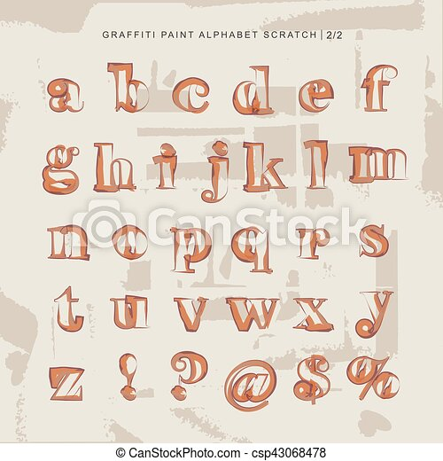 street style paint graffiti lower case alphabet letters and numbers
