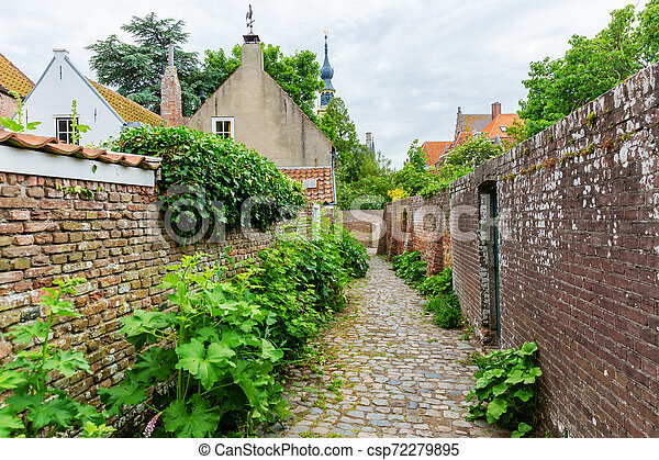 street view in the historic small town of Veere, Netherlands - csp72279895