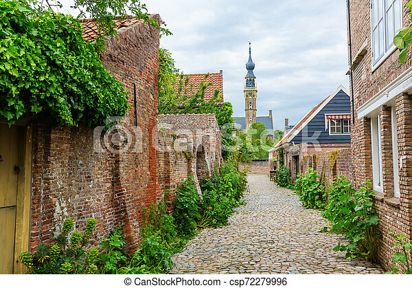street view in the historic small town of Veere, Netherlands - csp72279996