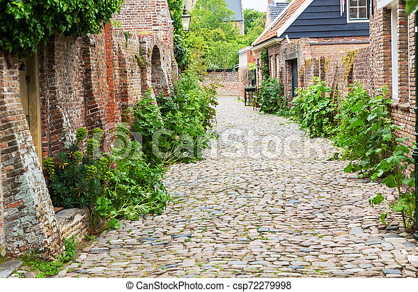 street view in the historic small town of Veere, Netherlands - csp72279998