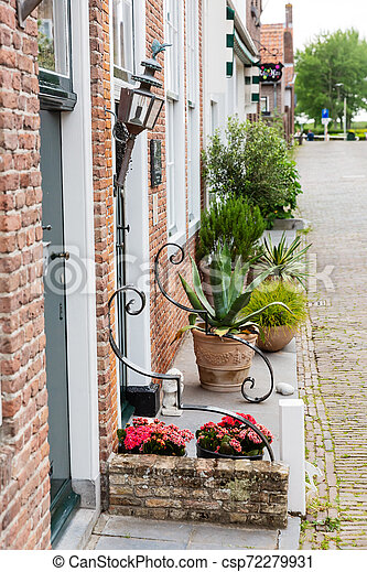 street view in the historic small town of Veere, Netherlands - csp72279931