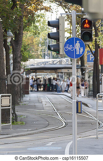 Street with pedestrian and bicycle paths - csp16115507