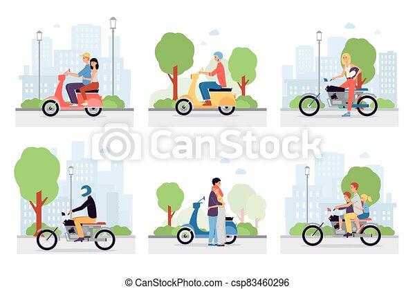 streets., μοτοσικλέτα , πόλη , θέτω , μικροβιοφορέας , ιππέας , διευκρίνιση  - csp83460296