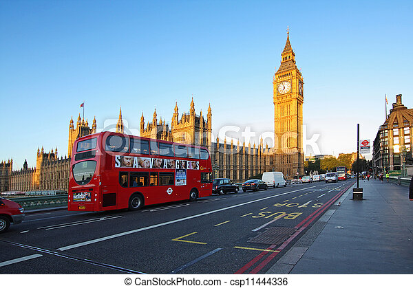 Streets of London in the morning, Westminster abbey - csp11444336