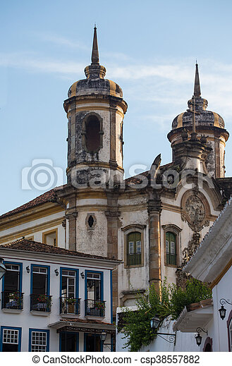 streets of the historical town Ouro Preto Brazil - csp38557882