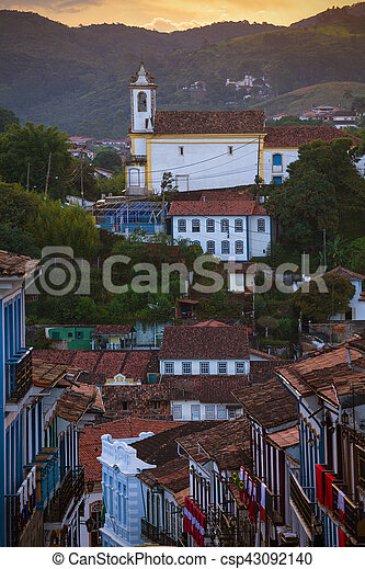 streets of the historical town Ouro Preto Brazil - csp43092140