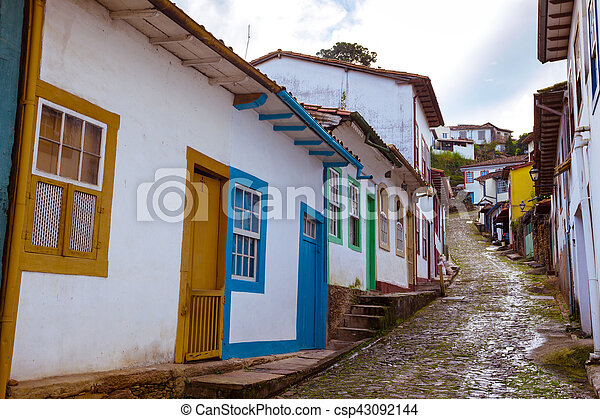 streets of the historical town Ouro Preto Brazil - csp43092144