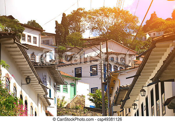 streets of the historical town Ouro Preto Brazil - csp49381126