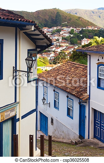 streets of the historical town Ouro Preto Brazil  - csp36025508
