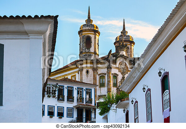 streets of the historical town Ouro Preto Brazil - csp43092134