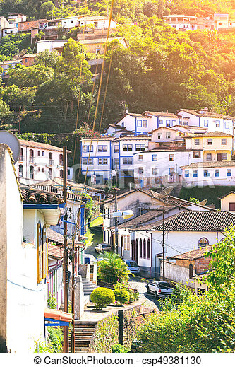 streets of the historical town Ouro Preto Brazil - csp49381130