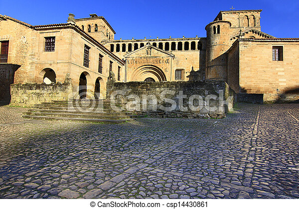 Streets typical of old world heritage village of Santillana del Mar, Spain - csp14430861