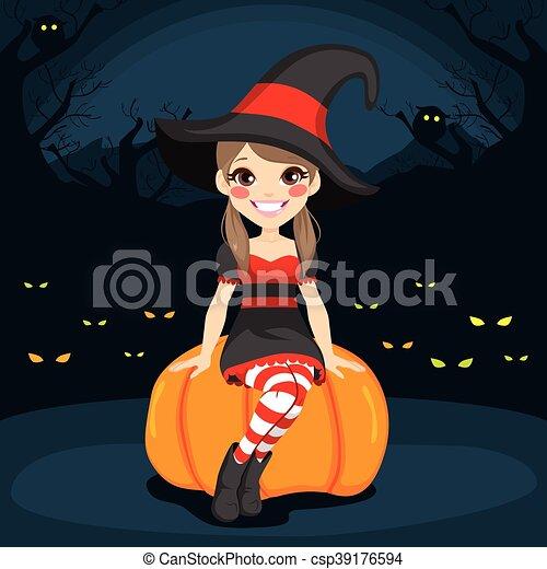 Immagine Zucca Di Halloween 94.Strega Halloween Notte