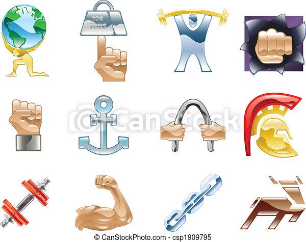 Strength Icon Set Series Design Elements - csp1909795