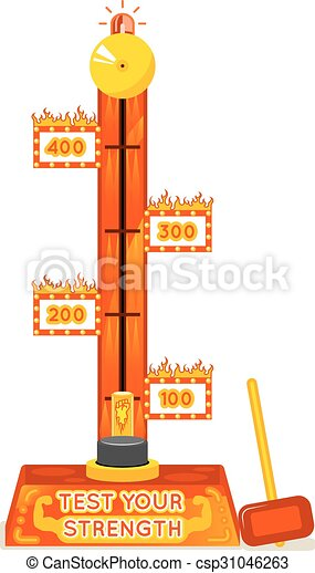 Strength tester. Test your strength amusement game. Vector illustration - csp31046263