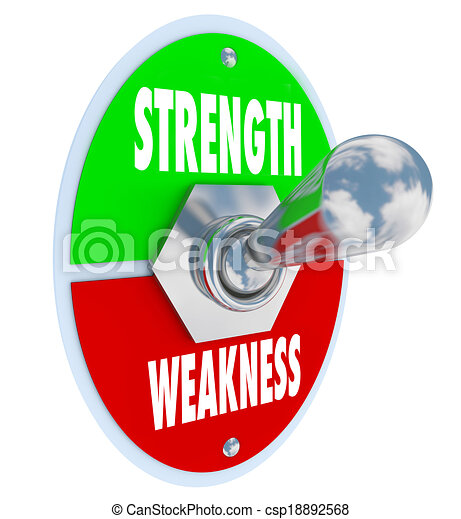 Strength vs Weakness words on a toggle switch, button or lever to illustrate your choice to pick the best option that is stronger than the competition - csp18892568