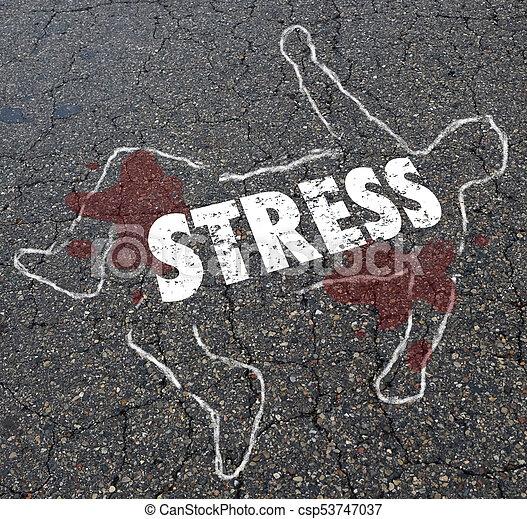 Stress Chalk Outline Body Killer Death 3d Illustration - csp53747037