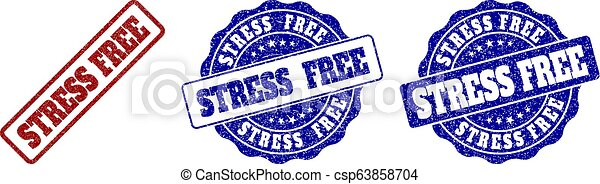 STRESS FREE Grunge Stamp Seals - csp63858704