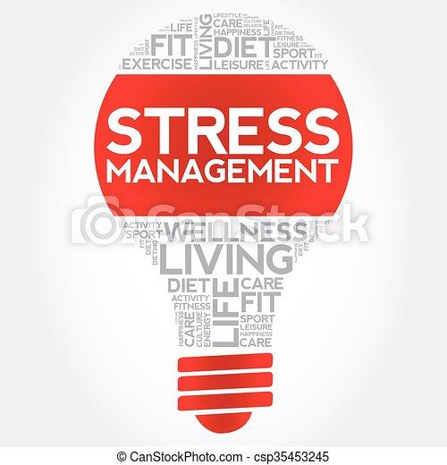 Stress Management bulb word cloud - csp35453245