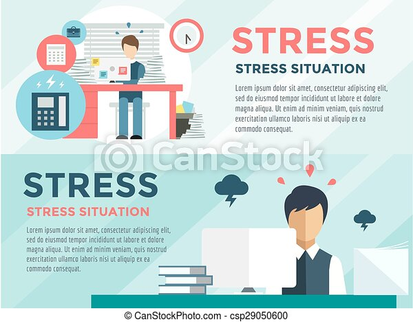 Stress on the work. Office life and business man. Stock design elements. - csp29050600