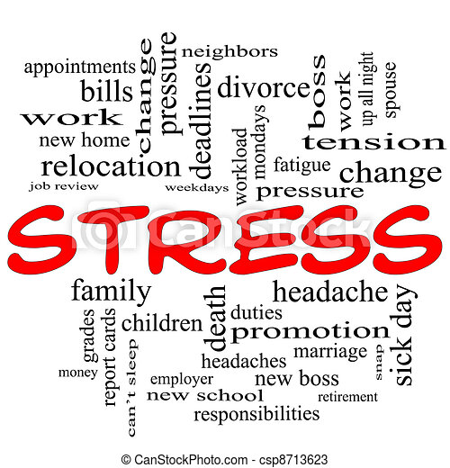 Stress word cloud concept in red caps - csp8713623