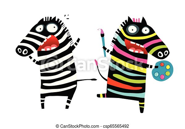 Stressed And Colorful Zebras Psychological Cartoon Funny Animal Stress Relief With Colors And Drawing Concept