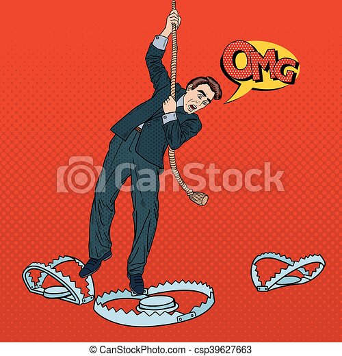 Stressed Business Man on the Rope Falls into the Trap. Pop Art Vector illustration - csp39627663