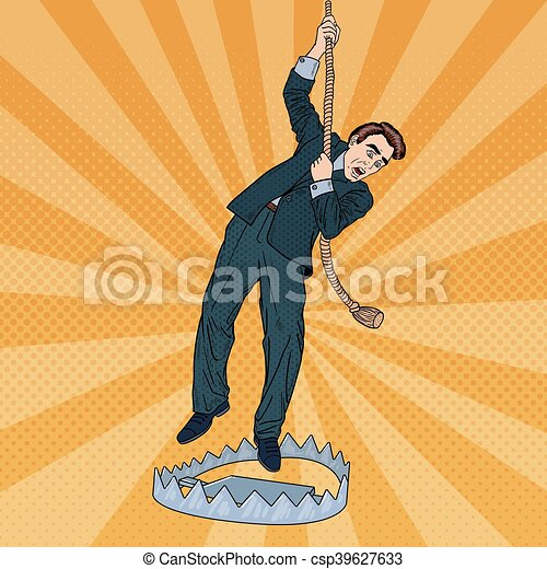 Stressed Business Man on the Rope Falls into the Trap. Pop Art Vector illustration - csp39627633