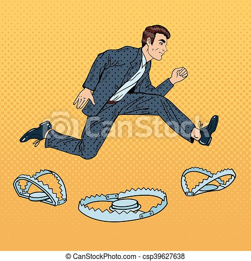 Stressed Business Man on the Rope Falls into the Trap. Pop Art Vector illustration - csp39627638