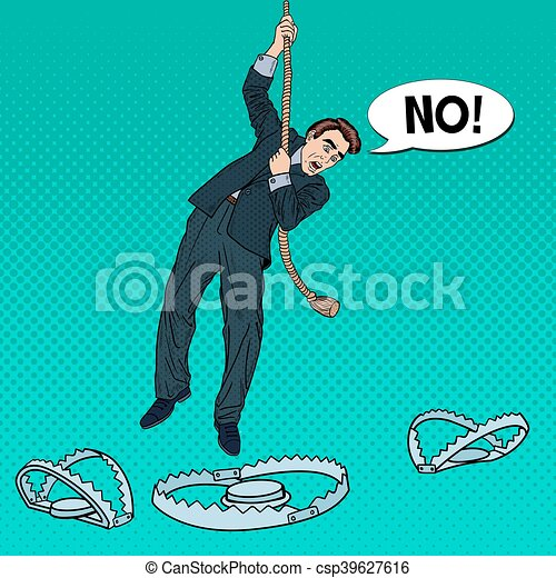 Stressed Business Man on the Rope Falls into the Trap. Pop Art Vector illustration - csp39627616