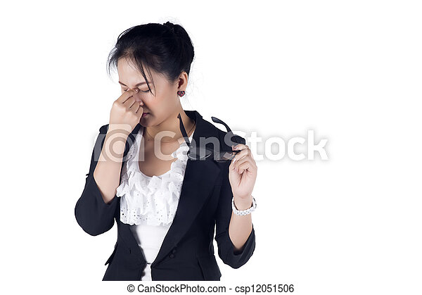 Stressed business woman with a headache isolate on white background, Model is Asian woman. - csp12051506
