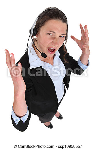 Stressed call-center worker - csp10950557
