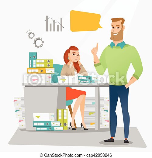 stressed female office worker and her employer stressed eps rh canstockphoto com office worker clip art free happy office worker clipart