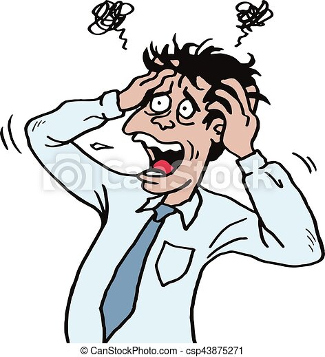 stressed man at work grabbed his head businessman vector vectors rh canstockphoto com clipart stressed out stress clip art