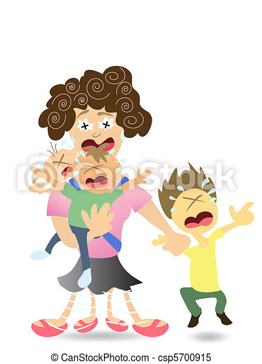 stressed mom very tired with 3 kids rh canstockphoto com working mom images clipart Cousin Clip Art