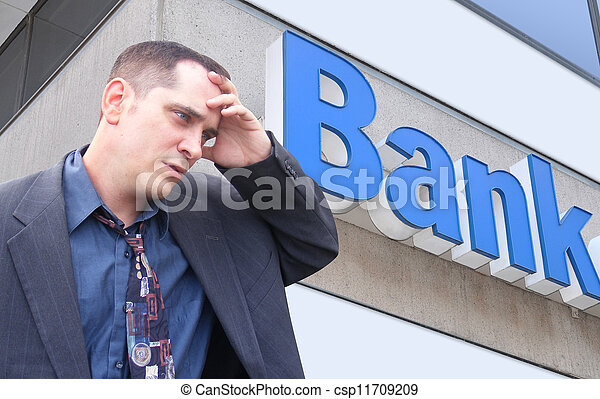 Stressed Money Business Man at Bank - csp11709209