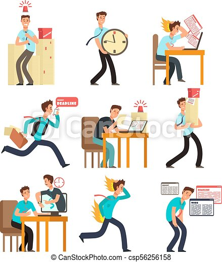 stressed office people for deadline and time management clipart rh canstockphoto com  time management clipart free