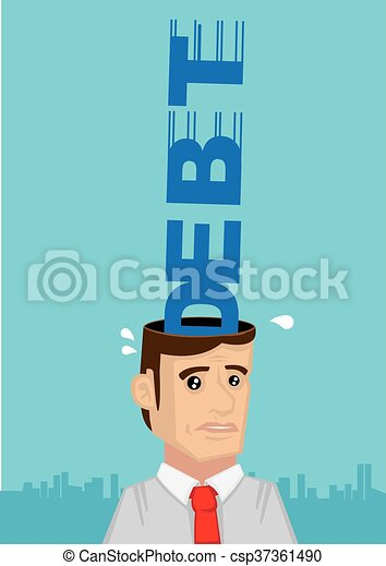 Stressed Out by Debt Vector Cartoon Illustration - csp37361490
