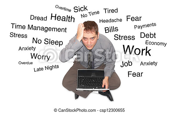 Stressed Out Laptop Man - csp12300655
