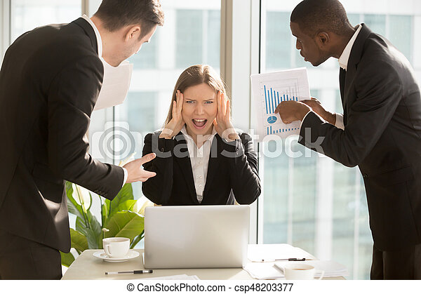 Stressed overworked businesswoman screaming, multitasking angry - csp48203377