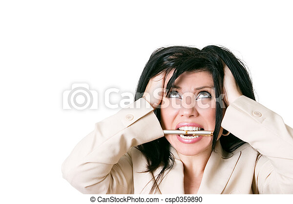 Stressed woman looking up - csp0359890