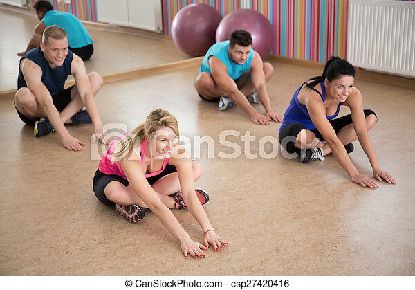 Stretching in fitness club - csp27420416