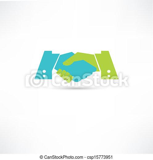 stretta di mano, icona - csp15773951
