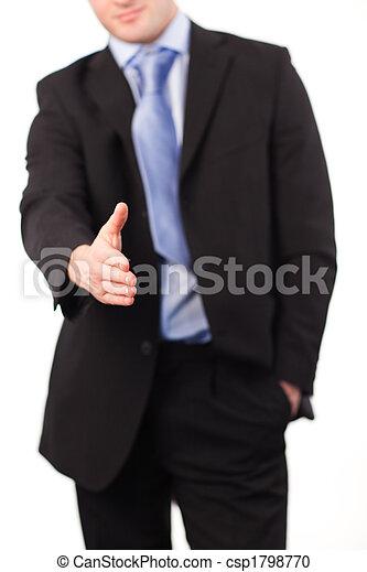 stretta di mano, offerta, uomo affari - csp1798770