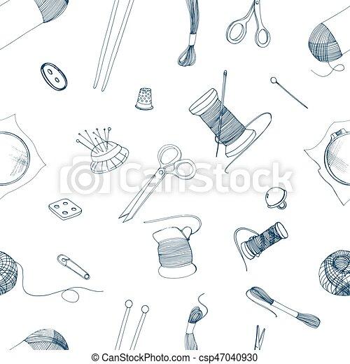 Strickzeug, illustration., muster, nähen, seamless, hand ...