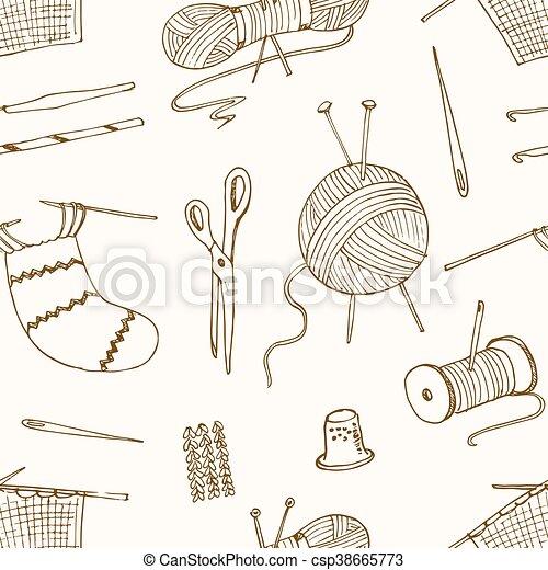 Strickzeug, muster, nähen, seamless, hobbies., handwerke. Strickzeug ...